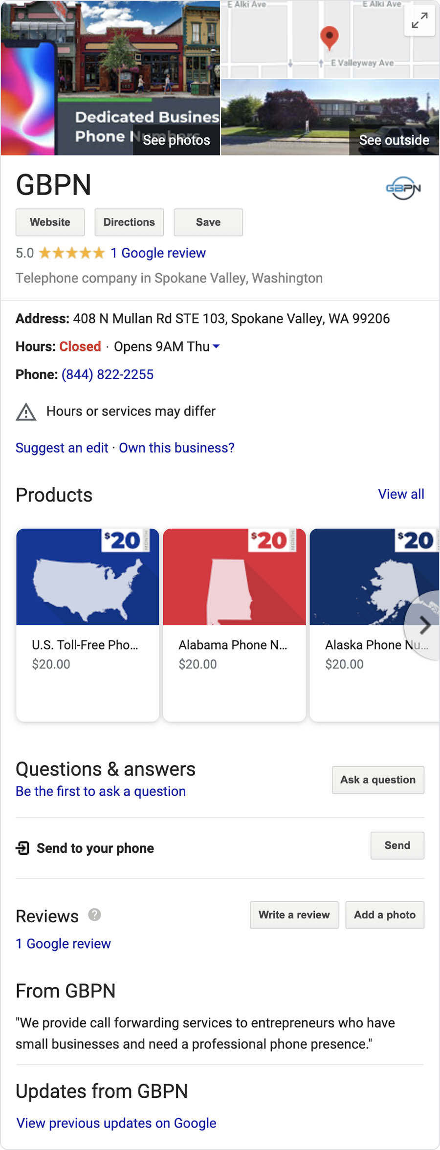 Google results when searching for company name