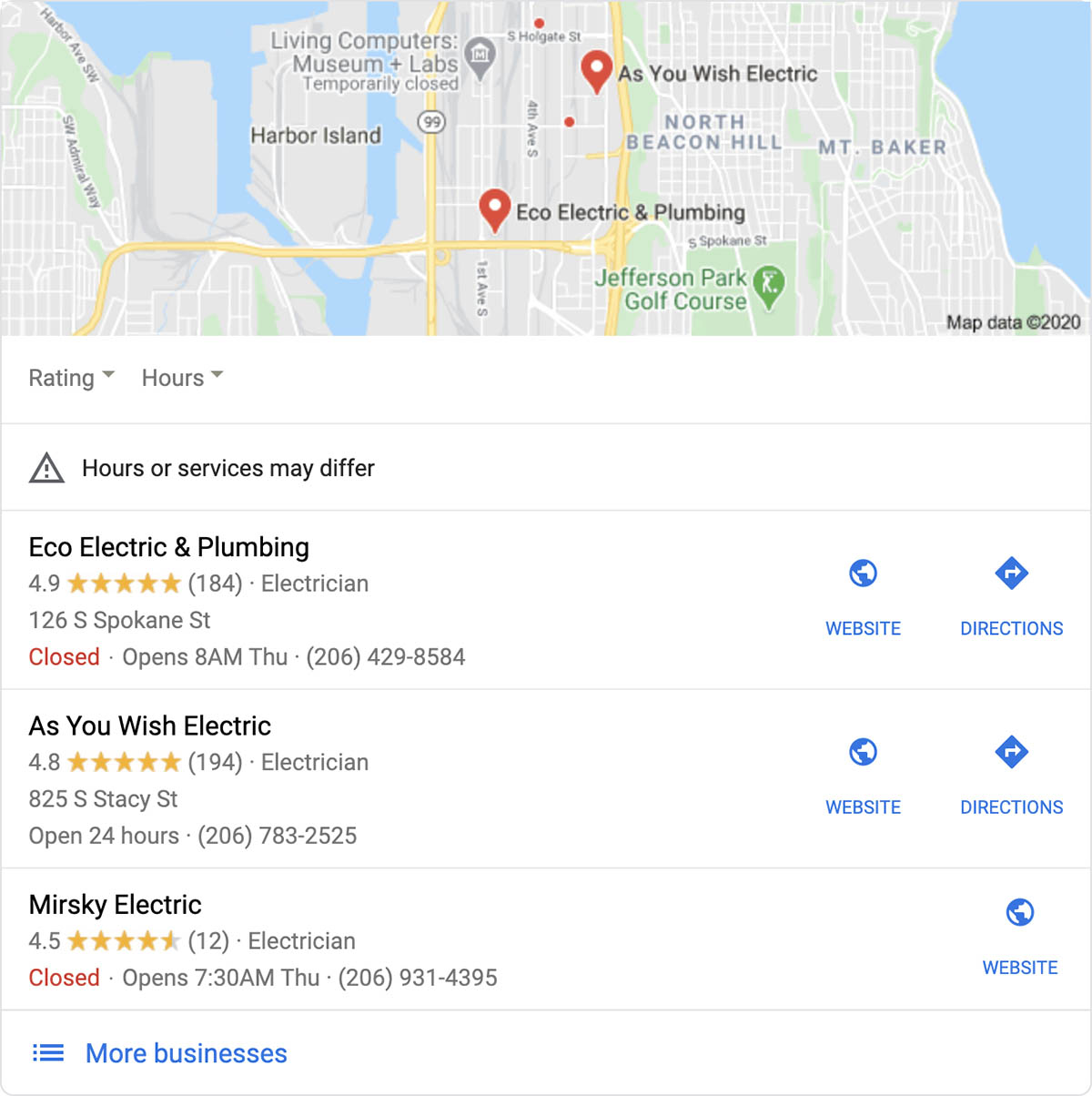 Google Map pack for electricians in Seattle